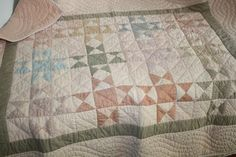 Handmade Quilt Pale Peach Pink Baby Girl Muted Shabby Colors pieced lap Blanket #Handmade