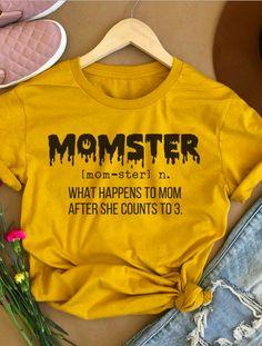 Momster Shirt, Momster Tshirt, Momster Shirts, Momster Halloween Shirt, Mom Halloween Shirt, Funny Halloween Shirt, Mom Halloween Tee, #ad Cute Tshirts, Mom Shirts, Textiles, Mom Outfits, Cute Outfits, Halloween Shirt, Halloween Quotes, Halloween Crafts, Funny Shirts Women