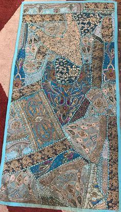 Vintage Bohemian Tapestry. Indian Sari Patchwork Beaded