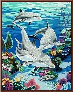 cuadros de delfines a punto de cruz - Buscar con Google