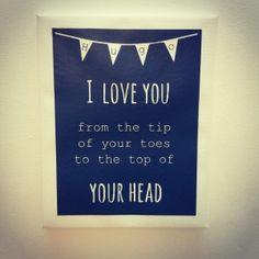 Canvasdoek kinderkamer 24x30cm met tekst: I love you from the tip of your toes…