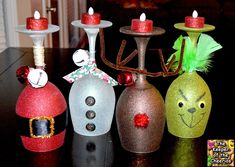 Christmas Wine Glass candle holders- made with dollar store wine glasses.I love the Grinch Christmas Projects, Holiday Crafts, Holiday Fun, Holiday Parties, Cheap Christmas Crafts, Festive, Christmas Decoupage, Xmas Party, Noel Christmas