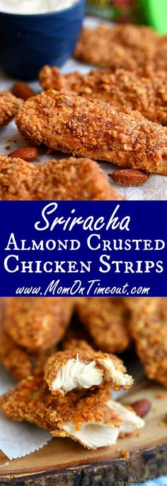 These Sriracha Almond Crusted Chicken Strips are the perfect recipe to spice things up for dinner tonight! Easy and so delicious, the whole family will love this healthy take on a family favorite! Perfect for game day appetizers too!   MomOnTimeout.com  