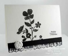 Stampin' Up! Wildflower Meadow Card ... black and white ... only part of the stamp used to make this pretty flower card ...