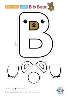 B is Bear' craft! A whole craft series to go with our Meet the Nemies video seri… – Crafts B ist Bärenhandwerk! Eine ganze Bastelserie passend zu unseren Video-Serien Meet the Nemies … Letter B Activities, Preschool Letter Crafts, Alphabet Letter Crafts, Abc Crafts, Bear Crafts, Preschool Learning Activities, Preschool Worksheets, Letter Tracing, Teaching Resources