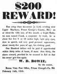 "Runaway notice, ""$200 reward!"" signed W.D. Bowie"