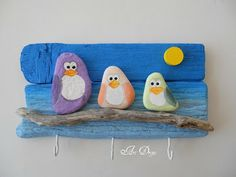 Tableau galets oiseaux sur bois flotté
