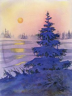Sunset Solitaire Painting - Sunset Solitaire by Teresa Ascone Watercolor Trees, Watercolor Landscape, Watercolor And Ink, Landscape Paintings, Watercolor Paintings, Watercolors, Tree Paintings, Original Paintings, Christmas Paintings