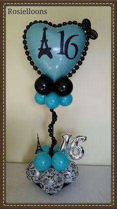 Balloon Table Centerpieces, Sweet 16 Centerpieces, Ballon Decorations, Centrepieces, 16 Balloons, Number Balloons, Birthday Balloons, Baby Bouquet, Paris Party