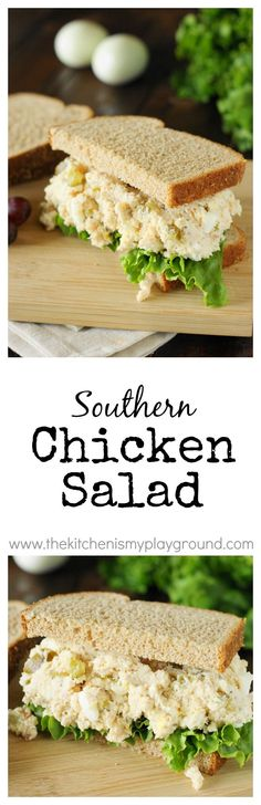 Traditional Southern Chicken Salad ... creamy & comforting! www.thekitchenismyplayground.com: Traditional Southern Chicken Salad ... creamy & comforting! www.thekitchenismyplayground.com