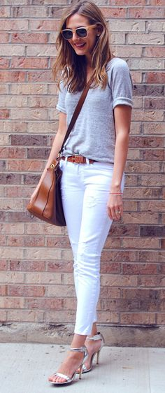 Simple tee, white jeans and metallic heels