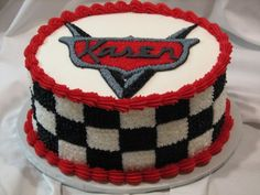 Disney Cars - This is a small cake I did to coordinate with the Lightning McQueen character cake I did.