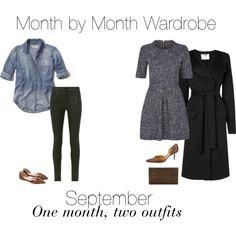 Month by Month Wardrobe - September by charlotte-mcfarlane on Polyvore featuring Hollister Co., L.K.Bennett, Frame, J.Crew, Salvatore Ferragamo and Nancy Gonzalez