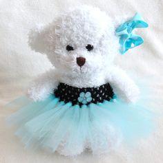 Princess Tiffany Blue Flower Tutu Teddy Bear, girls gift, flower girl gift, girl bedroom decor, baby shower, bridal shower, teddy bear on Etsy, $18.00