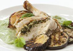 BBQ Chicken with eggplant & herbed yoghurt
