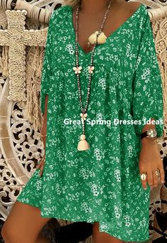 Buy Green Dresses, Online Shop, Women's Fashion Green Dresses for Sale - Floryday Spring Dresses With Sleeves, Fall Dresses, Summer Dresses, Flower Dresses, Fall Floral Dress, Long Sleeve Floral Dress, Floral Tunic, Plus Dresses, Sexy Dresses