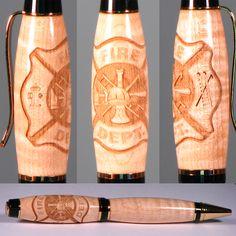 Fire Fighter Laser Engraved Pen by Wooden Pen Works