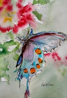 "Butterfly Watercolor Artists International - Contemporary Fine Art International: Butterfly Art Painting Watercolor ""Butterfly"" by Georgia Artist Pat Warren: Watercolor Painting Techniques, Butterfly Watercolor, Butterfly Art, Watercolor Artists, Watercolor Animals, Painting & Drawing, Butterflies, Butterfly Painting, Learn Painting"