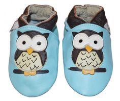 tøfler med ugle til baby og barn | baby leather shoes with owl