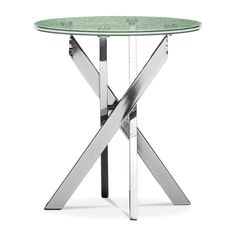 Glass Galaxy. The Celestial end table has a unique look that will perfectly suit your contemporary abode. The round tabletop features double layers of encased shattered glass and makes a terrific conversation piece. The pedestals resemble a vertical collection of chrome matchsticks. This table will make your favorite living spaces sparkle.