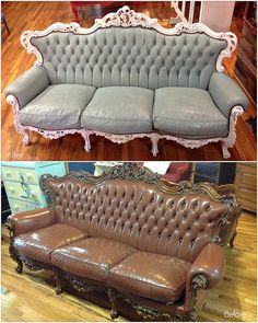 Amazing leather sofa Before & After! Chalk Paint® decorative paint by Annie Sloan in Duck Egg Blue for the body and Pure White for the frame, finished with Clear Chalk Paint® Wax   Project by Stockist Cora's Closet in Brighton, CO