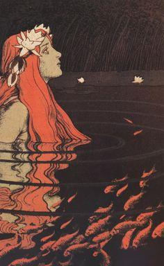 Franz Hein - 'Nixe im Goldfischteich' | farbige Lithografie, 1904 | Philadelphia Museum of Art.