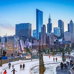 Ice skating in Maggie Daley Park in Chicago: One of our 12 ways to enjoy winter! See more: http://www.midwestliving.com/travel/around-the-region/12-ways-to-own-winter/