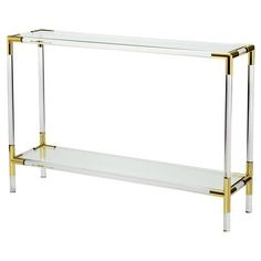 Narrow acrylic console table with brass joints  Find more Modern Console Table Inspirations on www.modernconsoletables.net