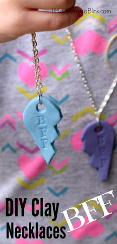 DIY Clay BFF Necklaces   Use clay to make these BFF heart necklaces