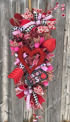 Valentine's Day Wreath, Valentine's Day Swag, Valentine's Heart, Heart Wreath, Heart Swag, Valentine's Decor, Valentine Door Hanger by ADoubleDCreation on Etsy