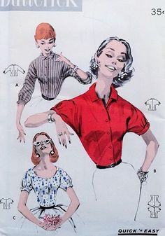 1950s Lovely Blouse Pattern Butterick 7827 Three Pretty Styles Perfect For Your…