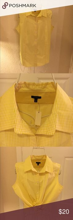 Talbots Blouse This little number is just so sweet.  It's a hounds tooth print in yellow!  Brand new and would look great with white shorts or jeans!  Tuck it in, wear it out or tie it up!  Perfect condition new with tags.  Love love love this it's just to big for me.  You need this for summer! Talbots Tops Blouses