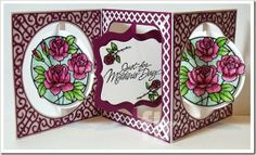 Just for Mother's Day! created by Frances Byrne using Circle Accordion Card; Square with Circle Frame Edges; Fancy Label Accordion Card; Fancy Frame Edge – designed by Karen Burniston for Elizabeth Craft Designs. Rose Peel Off Stickers Elizabeth Craft Designs