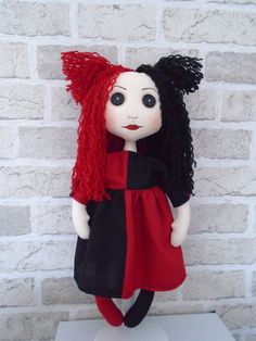 'Aitch' cloth art doll by Gothic Moppets on Facebook