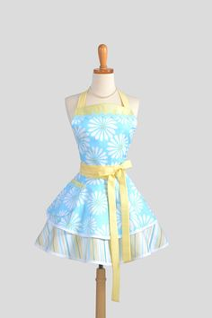 Ruffled Retro Apron  Sexy Womens Apron in by CreativeChics on Etsy, $45.00