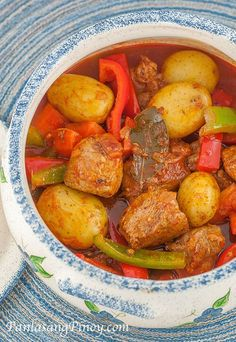 Pork Afritada is a another version of pork stew. This recipe also makes use of tomato sauce and vegetables.