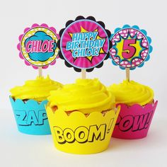 Girl Superhero Personalized Cupcake Toppers & Wrapper Set