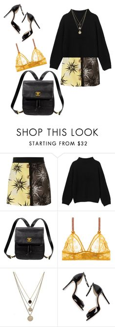 """"""""""" by lucielux ❤ liked on Polyvore featuring FAUSTO PUGLISI, Monki, Kate Spade, STELLA McCARTNEY, LowLuv, M. Gemi, yellow, black, sun and Chanel"""
