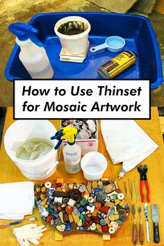 How to mix and use thinset bonding mortar for detailed work with glass mosaic tile and stained glass. Mosaic Garden Art, Mosaic Tile Art, Mosaic Artwork, Mosaic Diy, Mosaic Crafts, Mosaic Glass, Stained Glass, Mosaic Ideas, Glass Art