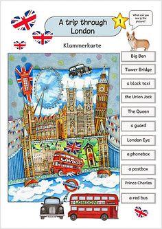 Klammerkarten Europa für Kinder - LONDON English Games, English Resources, English Activities, English Lessons, Learn English, English Vocabulary, English Grammar, Teaching English, English Language