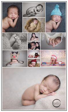 Newborn baby photography, seattle newborn photography, holiday themed newborn photography, Christmas newborn baby photos, newborn baby storks pose, newborn baby with parents, newborn baby Santa hat, newborn baby with dog