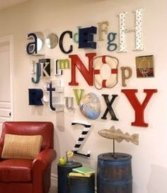 Alphabet wall-- I had one as a kid, but this is a much more design oriented way of doing it.