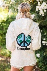 2de96c2598 Handcrafted Imagine World Peace graphic printed Baja Hoodies! Keep cozy is  our most comforting cover