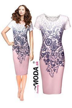 53ddc76e29 Elegantné ružovo-biele letné úpletové dámske šaty s atraktívnou krajkovou  potlačou skladom vo veľkostiach i