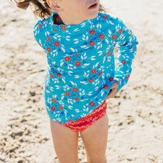 Girls Blue Floral Long Sleeve Rashie | Sandy Feet Australia