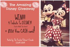 THE AMAZING DISNEY GIVEAWAY!  Win 4 Tickets To Disney! (World or Land, Your Choice)  + $550 VISA Cash Card!