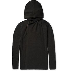 RICK OWENS Ribbed Cashmere-Blend Hooded Cardigan. #rickowens #cloth #knitwear