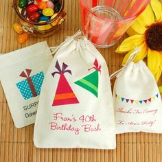 Personalized Party Theme Natural Cotton Favor Bag by Beau-coup