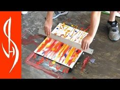 Tempera Abstract Painting Demonstration - Easy Swiping and Blending Technique - YouTube