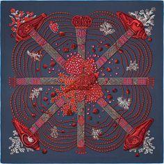 """592361eebda9 36"""" x 36"""" scarf Hermès   Chemins de Corail Annie Faivre 2016 Foulard Carré"""